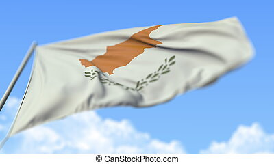 Waving national flag of Cyprus, low angle view. 3D rendering