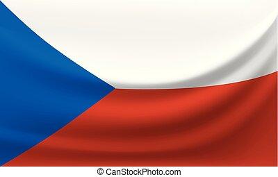 Waving national flag of Czech Republic. Vector illustration