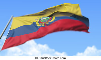Waving national flag of Ecuador, low angle view. 3D rendering