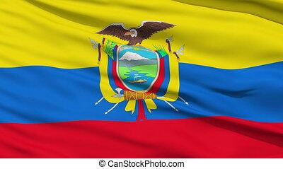 Waving national flag of Ecuador - Closeup cropped view of a...