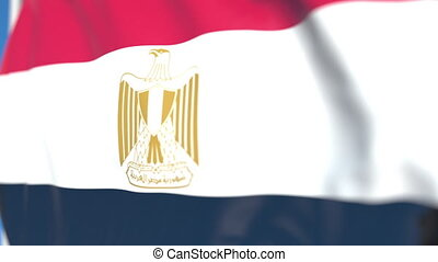Waving national flag of Egypt close-up, loopable 3D animation