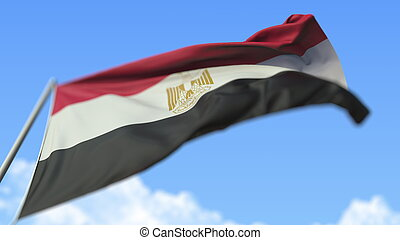 Waving national flag of Egypt, low angle view. 3D rendering