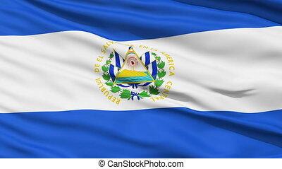Waving national flag of El Salvador - Closeup cropped view...