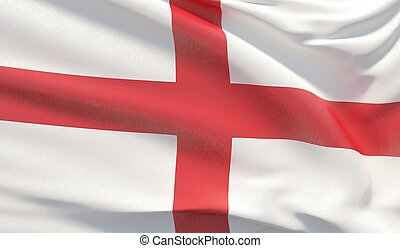 Waving national flag of England. Waved highly detailed close-up 3D render.