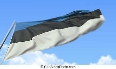 Waving national flag of Estonia, low angle view. 3D rendering