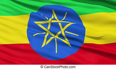 Waving national flag of Ethiopia - Closeup cropped view of a...
