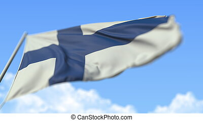 Waving national flag of Finland, low angle view. 3D rendering