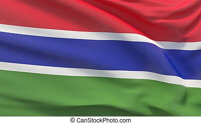 Waving national flag of Gambia. Waved highly detailed close-up 3D render.