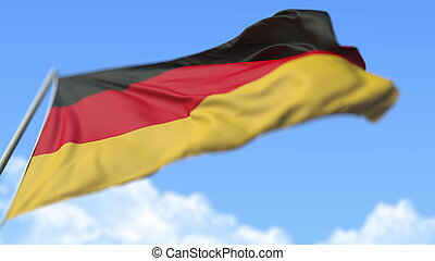 Waving national flag of Germany, low angle view. 3D rendering