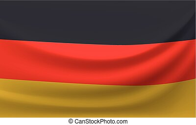Waving national flag of Germany. Vector illustration