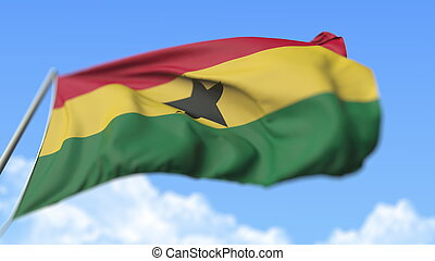 Waving national flag of Ghana, low angle view. 3D rendering