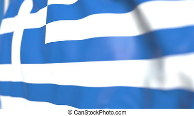 Waving national flag of Greece close-up, loopable 3D animation