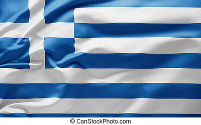 Waving national flag of Greece