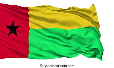 Animation of the full fluttering national flag of Guinea Bissau isolated on white