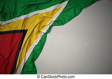 waving national flag of guyana on a gray background.