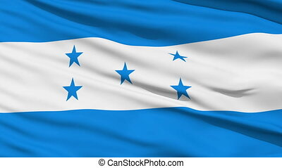 Waving national flag of Honduras - Closeup cropped view of a...