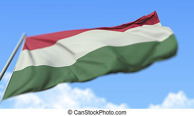 Waving national flag of Hungary, low angle view. 3D rendering