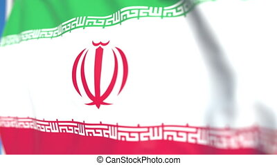 Waving national flag of Iran close-up, loopable 3D animation
