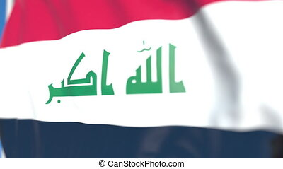 Waving national flag of Iraq close-up, loopable 3D animation