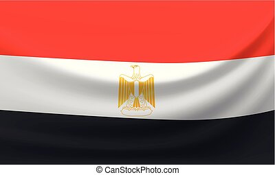 Waving national flag of Iraq. Vector illustration