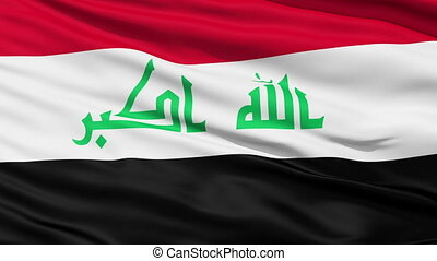 Waving national flag of Iraq - Closeup cropped view of a...
