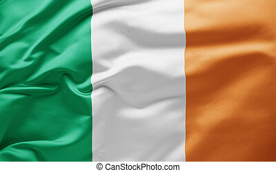 Waving national flag of Ireland