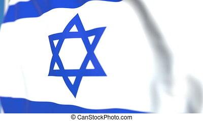 Waving national flag of Israel close-up, loopable 3D...