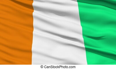 Waving national flag of Ivory Coast - Closeup cropped view...