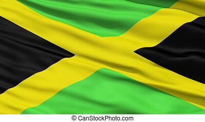 Waving national flag of Jamaica - Closeup cropped view of a...