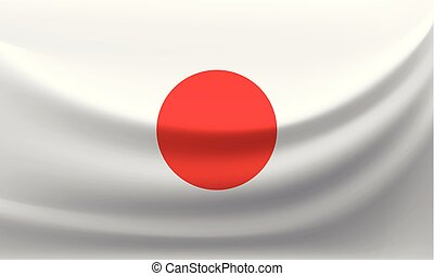 Waving national flag of Japan. Vector illustration