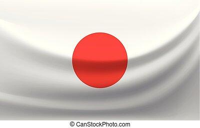 Waving national flag of Japan. Vector illustration