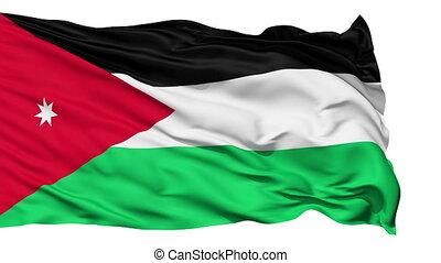Animation of the full fluttering national flag of Jordan isolated on white