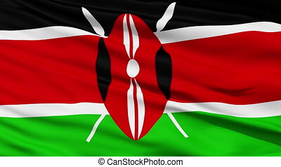 Waving national flag of Kenya - Closeup cropped view of a...