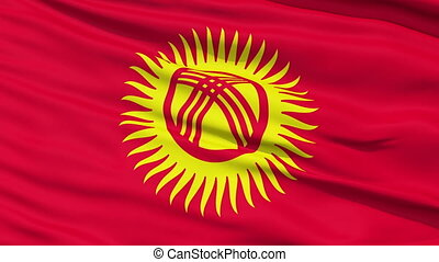 Waving national flag of Kyrgyzstan - Closeup cropped view of...