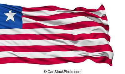 Animation of the full fluttering national flag of Liberia isolated on white