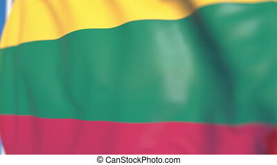 Waving national flag of Lithuania close-up, loopable 3D animation