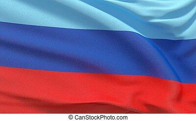 Waving national flag of Luhansk. Waved highly detailed close-up 3D render.