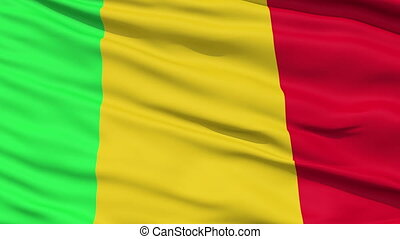 Waving national flag of Mali - Closeup cropped view of a...