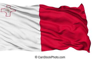 Animation of the full fluttering national flag of Malta isolated on white