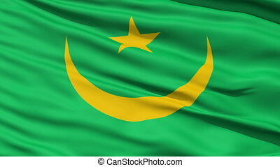 Waving national flag of Mauritania - Closeup cropped view of...