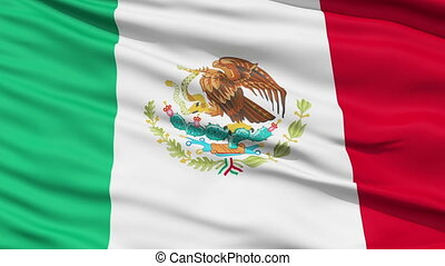 Waving national flag of Mexico - Closeup cropped view of a...