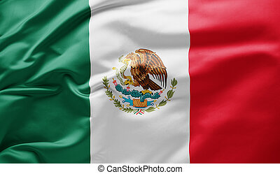 Waving national flag of Mexico