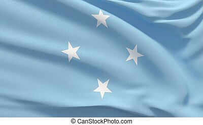 Waving national flag of Micronesia. Waved highly detailed close-up 3D render.