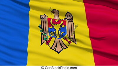 Waving national flag of Moldova - Closeup cropped view of a...