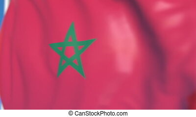 Waving national flag of Morocco close-up, loopable 3D animation