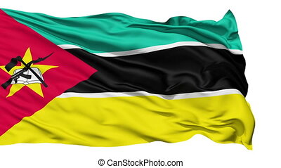Waving national flag of Mozambique - Animation of the full...