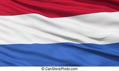 Waving national flag of Netherlands - Closeup cropped view...