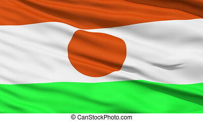 Waving national flag of Niger - Closeup cropped view of a...