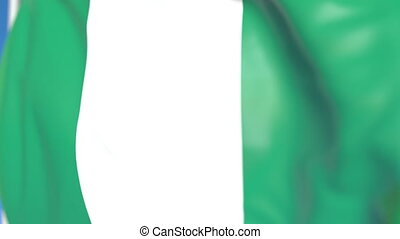 Waving national flag of Nigeria close-up, loopable 3D animation