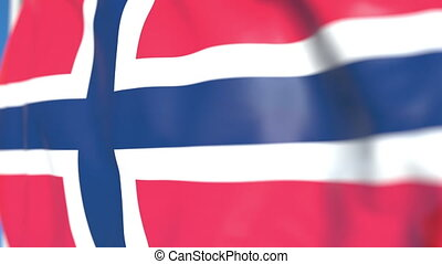 Waving national flag of Norway close-up, loopable 3D animation